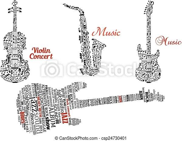 Clipart Vecteur de nuages, guitare, notes, Étiquette