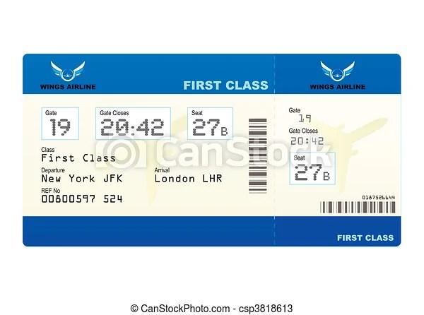Vecteurs de billet avion  premier classe embarquement