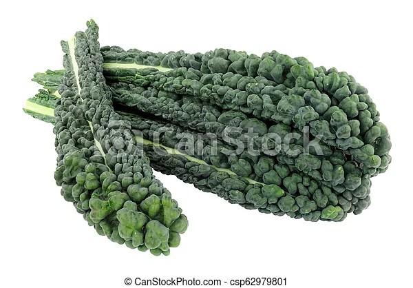 Cavolo. feuilles. chou frisé. nero. Groupe. chou frisé. feuilles. isolé. arrière-plan noir. blanc. | CanStock