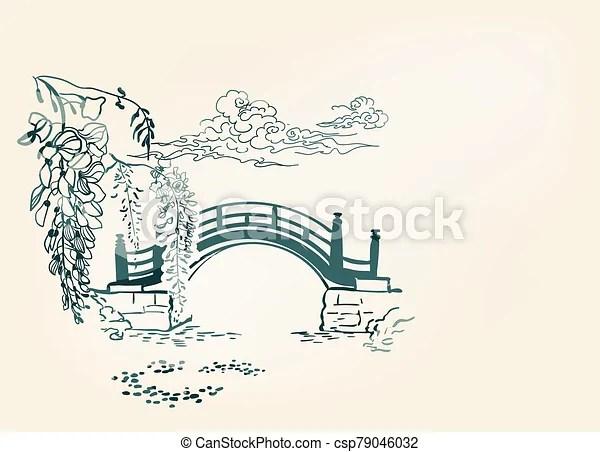 chinois fond ligne vecteur etang riviere oriental encre vue japonaise nature wisteria illustration carte pont paysage croquis art