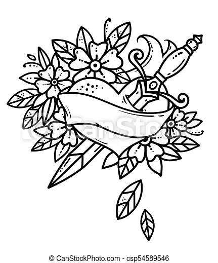 Coeur, école, vieux style, dagger., flowers., noir, blanc