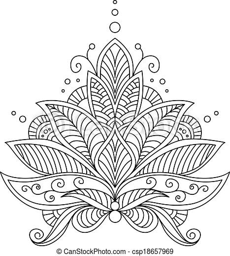 Compliqué, stylique floral, motif, délicat. Motif, contour