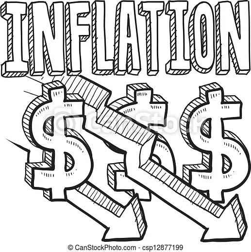 Croquis, déflation. Style, déflation, griffonnage, format., titre, flèches, illustration, inclut, bas, inflation, vecteur, texte, diminuer ...