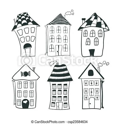 maison dessin anime noir et blanc