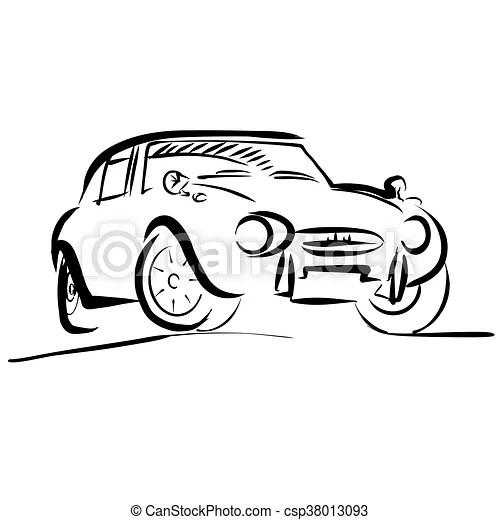 Croquis, vieux, contour, voiture, petit, sport. Vieux