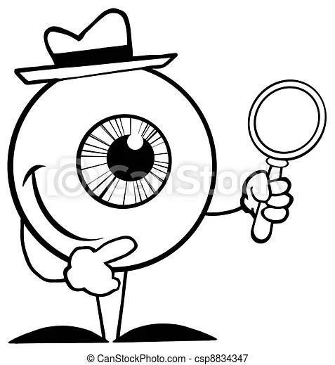 Détective, esquissé, globe oculaire, verre, tenue, magnifier.