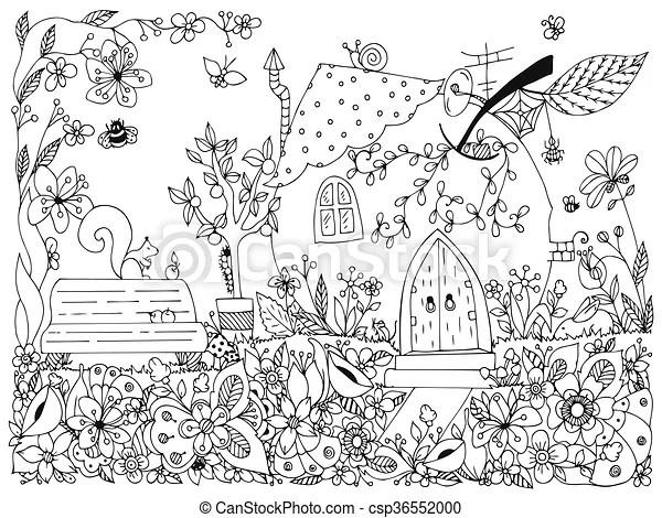 Dudling., pomme, printemps, house., anti, jardin