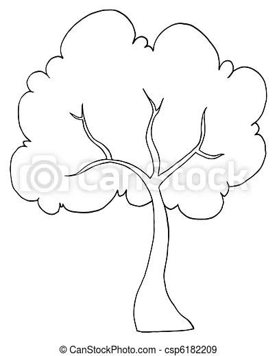 Esquissé, arbre, dessin animé, illustration. Noir, blanc
