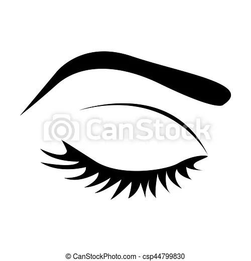 Examiner fermé, couleur, sourcil, femme, silhouette