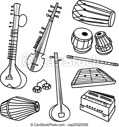Instruments, indien. Vecteur, ensemble, instruments, isolé