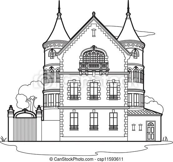 Manoir, dessin. 19ème, château, siècle clipart vectorisé