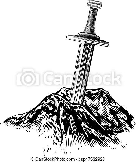 Pierre, excalibur, épée, illustration. Style, excalibur