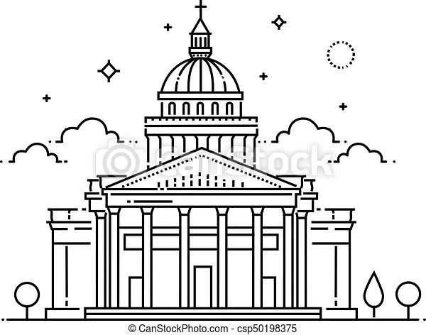 Plat, illustration, voyage, paris, panthéon, france