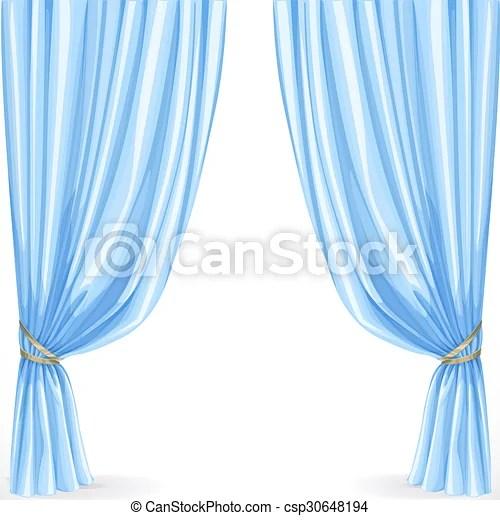 rideau bleu blanc isole fond
