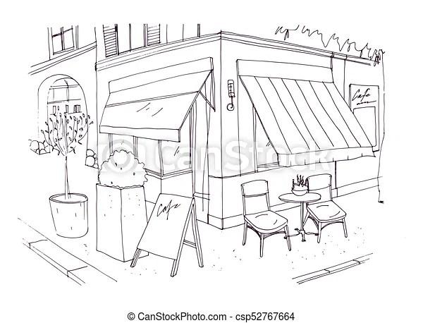 Rue, freehand, table, café, contour, bâtiment., debout