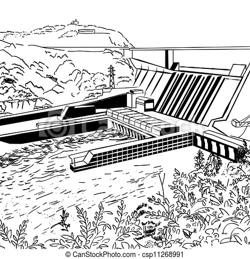 Station, énergie hydroélectrique. Gravure, illustration
