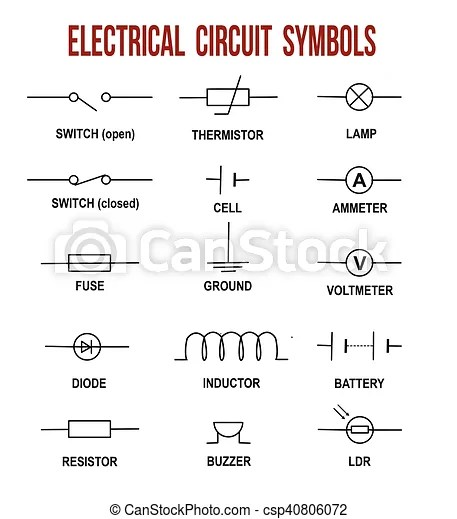 shunt trip circuit breaker wiring diagram 2002 pt cruiser starter symboles, électrique. (helpful, fond, &, illustration, vecteur, ...