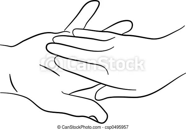 Simple, tendrement, deux, toucher, mains, dessin ligne