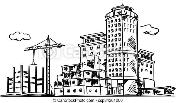 Ville, croquis, construction. Bâtiments, construit