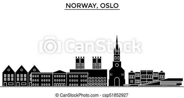 Ville, norvège, bâtiments, oslo, voyage, vues, isolé