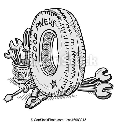 Voiture, outils, pneu. Roue, illustration, caoutchouc