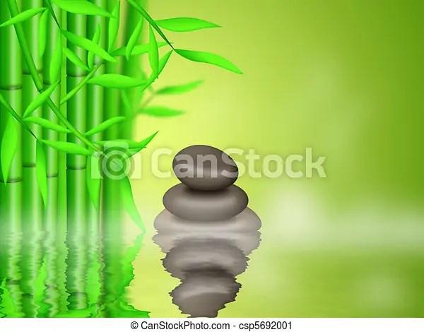 zen cailloux fond foret bambou