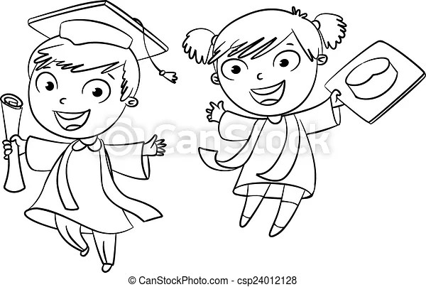 有趣, graduate., 字, 卡通. 矢量, 有趣, 著色, illustration., character