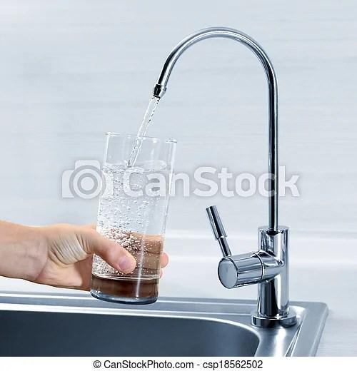 水龍頭, 手, 水玻璃, 充滿, 廚房. | CanStock