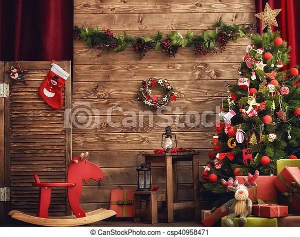 裝飾, 房間, 聖誕節. 美麗, 客廳, 圣誕節。, 裝飾, holiday!, 愉快.