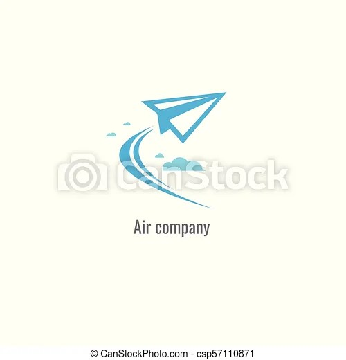 Air company modern paper plane logo template. vector. on