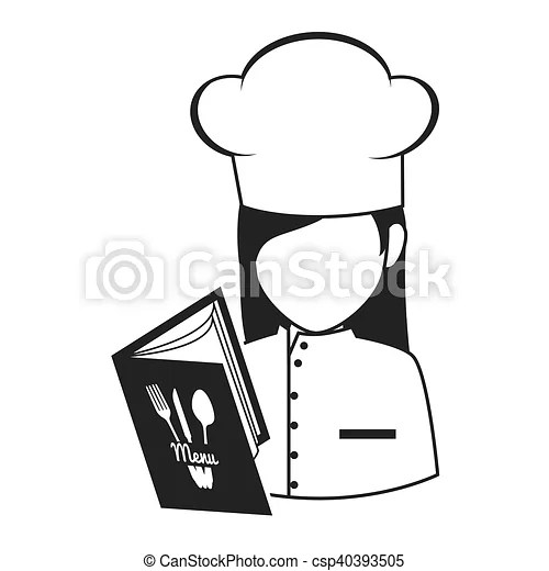 Avatar chef woman. Avatar food chef woman with menu book