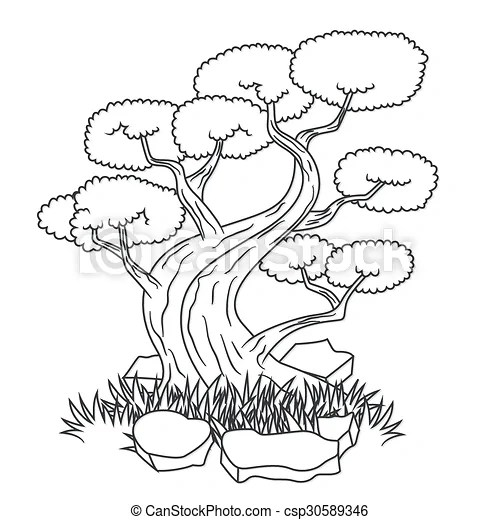 Beautiful bonsai tree tattoo. Vector illustration of