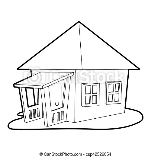 Bungalow icon, outline style. Bungalow icon. outline