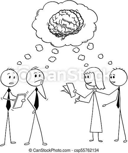 Cartoon of business team or people thinking about problem