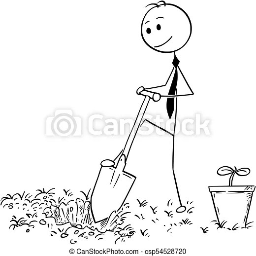 Cartoon of businessman digging a hole for plant. Cartoon