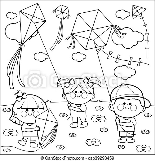 Children flying kites coloring book. Vector black and