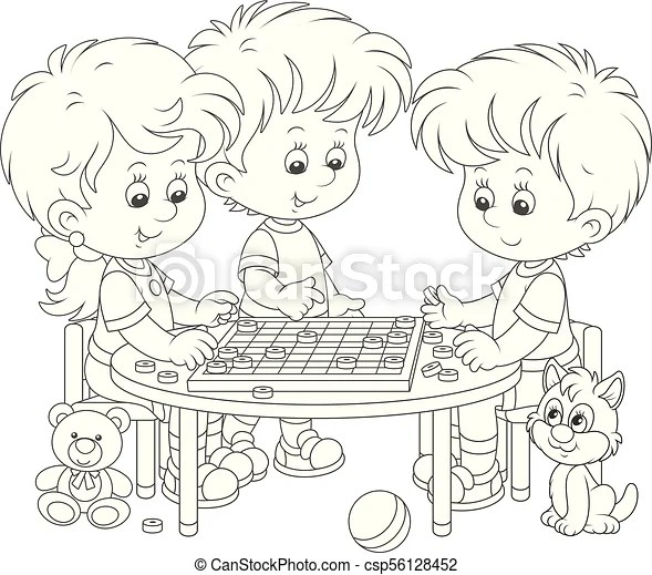 Children playing checkers. Little girl and boys play