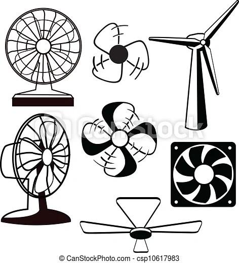 Fans ventilators Various spinning ventilators and fans