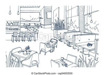interior sketch restaurant freehand drawing contour cafe coffee furnished hand bistro drawn fancy lines line rough modern clipart drawings vector