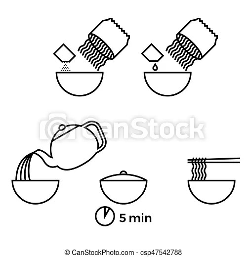 Graphic info of prepare instant noodle for use as manual