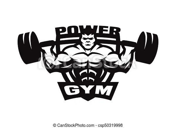 Gym monochrome logo, emblem. Sport gym monochrome logo