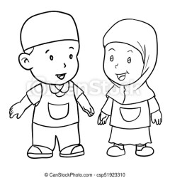muslim drawing boy clipart hand vector moslem standing clip students zeichnung rysunek coloring simple abbildung line isolated drawings fotosearch icon
