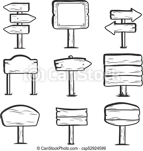 Hand drawn wooden street signs. doodle sign post icons
