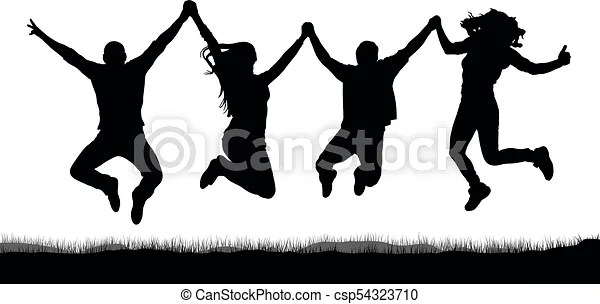 Happy jumping people friends holding hands silhouette
