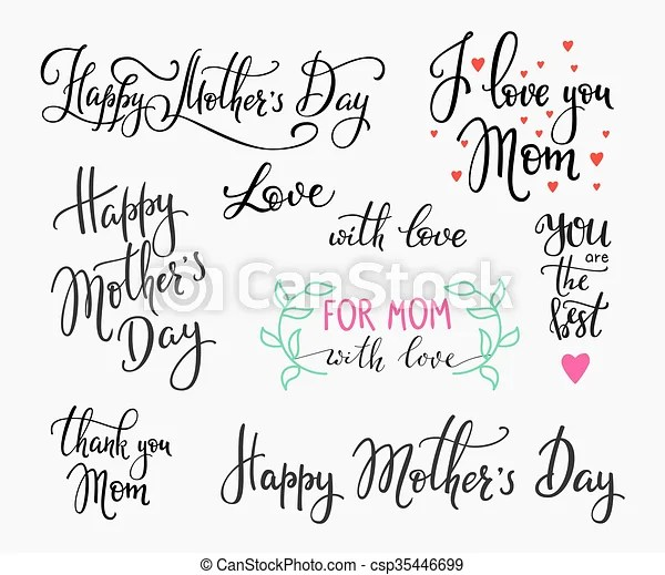 Happy mothers day simple lettering. calligraphy postcard