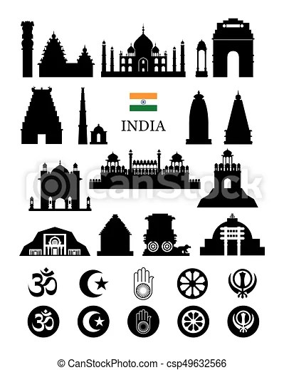 India objects icons silhouette. Architecture landmarks and