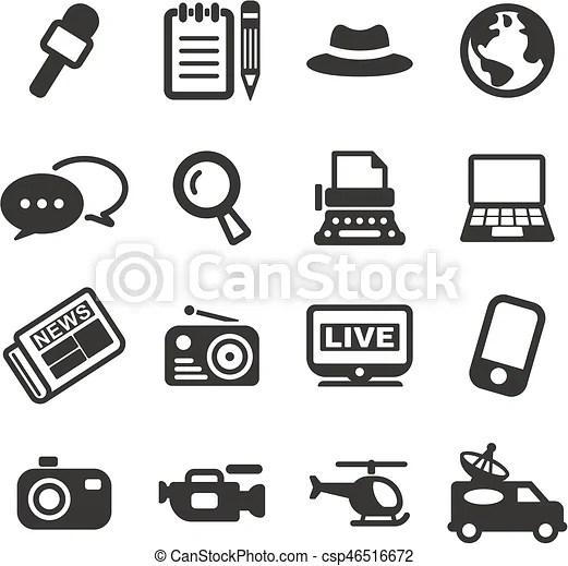 Journalist or reporter icons. This image is a illustration