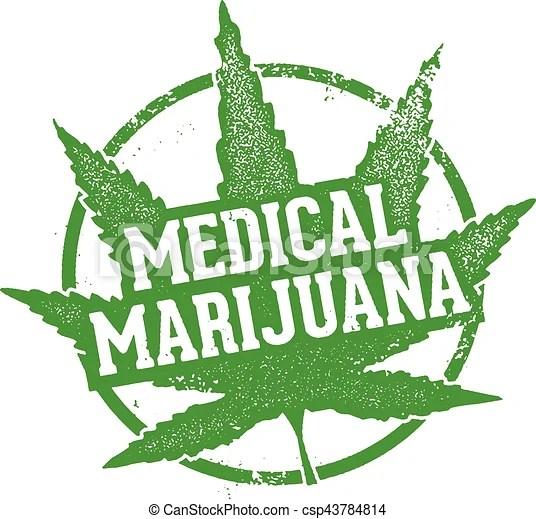 Medical marijuana leaf stamp. Vintage style distressed stamp for medical marijuana.