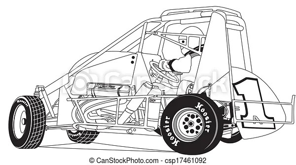 Midget race car. Vector, line drawing of midget race car