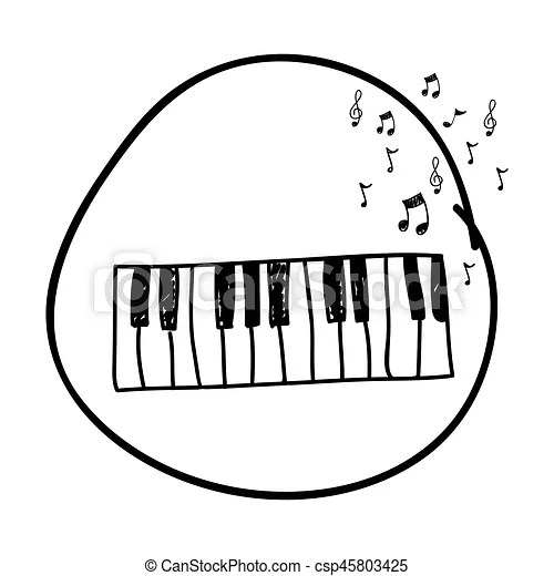 Monochrome hand drawing of piano keyboard in circle and